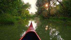 Canoeing on a river. Canoeing in the wilderness, sunlight flares stock footage