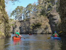 Canoeing on a river Stock Photography