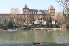 Canoeing on the river Po in Turin at the Park of Valentino, Turin, Italy Royalty Free Stock Photo
