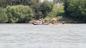 Canoeing on the river. Unidentified people canoeing on the river Rhine on a hot summer day stock video footage