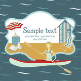 Canoeing in the Sea card Stock Photo