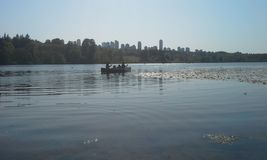 Canoeing. Setting out for adventure on an urban lake Stock Photography