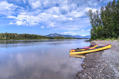 Canoeing South Nahanni River Stock Photos