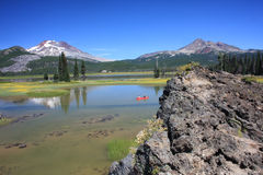 Canoeing on Sparks Lake royalty free stock photography