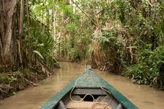 Canoeing sul lago Sandoval Fotografia Stock