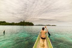 Canoeing among the Togian Islands Stock Image
