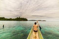 Canoeing among the Togian Islands Stock Image