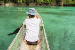 Canoeing among the Togian Islands Royalty Free Stock Photo
