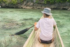 Canoeing among the Togian Islands Royalty Free Stock Photos