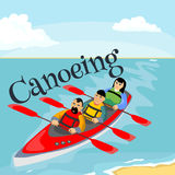 Canoeing water extreme sports,  design element for summer vacation activity concept, cartoon wave surfing, sea. Beach vector illustration, active lifestyle Stock Images