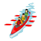Canoeing water extreme sports, isolated design element for summer vacation activity concept, cartoon wave surfing, sea. Beach vector illustration, active Stock Photography