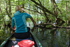 Canoeing in the wilderness of germany Stock Photos