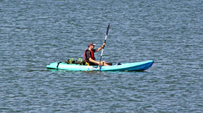 Canoeist in boat race Royalty Free Stock Photos