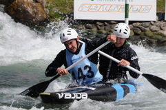 Canoeist in international racing Stock Photos