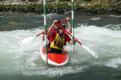 Canoeist in international racing Stock Image