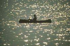 Canoeist på laken Arkivfoto