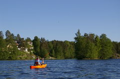 canoeistlake Royaltyfri Fotografi