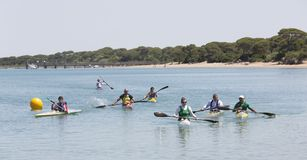 Canoeists competition amateur Royalty Free Stock Photo