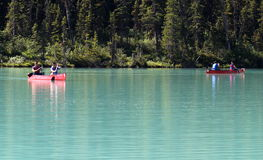 Canoeists on Lake Louise Royalty Free Stock Images