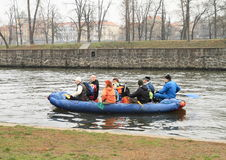 Canoeists on river Stock Image