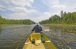 Canoer on a North Woods Lake Royalty Free Stock Image