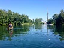 Canoers barbotant dans les îles de Toronto, Ontario, Canada Image libre de droits