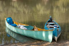 Canoes. Of a rowing river tour royalty free stock photo