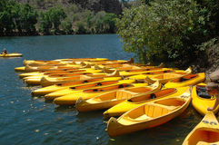 Canoes. Katherine Gorge is in the Northern Territory Australia. It is an ideal place to hire an canoe and explore this beautiful gorge Royalty Free Stock Photo