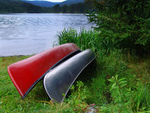 Canoes. On Pennsylvania lake stock images