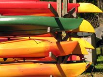 Canoes. Shot of several canoes at De Leon Springs State Park in Central Florida stock photos