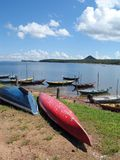 Canoes on Amazon river Stock Images