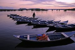 Canoes in Amazonia. Canoes in line during the dawn in Rio Tapajos - Brazil Royalty Free Stock Photography