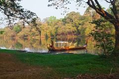 Canoes on Angkor Thom Moat, Siem Reap, Cambodia Stock Photography