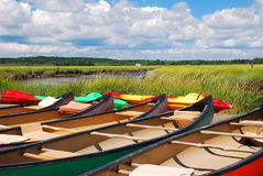Canoes Await Stock Photos