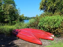 Canoes on the banks of a Lake Royalty Free Stock Image