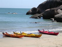 Canoes on a beach 2 Royalty Free Stock Images