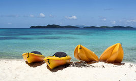 Canoes on beach. In Caribbean, St. Thomas, US. Virgin Islands Stock Image