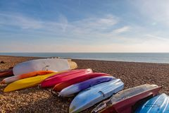 Canoes on the Beach royalty free stock image