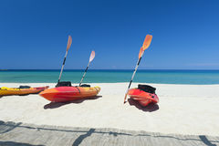 Canoes on beach by the Mediterranean Sea Royalty Free Stock Photos