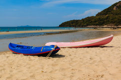 Canoes on the beach Royalty Free Stock Photo