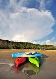 Canoes at the beach. Stack of canoes at the beach in Kota Kinabalu, Sabah Malaysia stock image