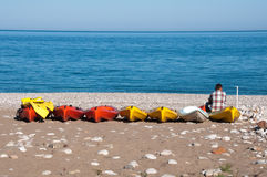 Canoes at Cirali beach (Turkish Riviera) Royalty Free Stock Photos