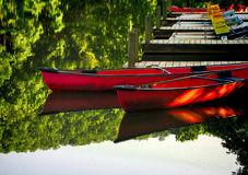 Canoes at dock 3 Stock Photo