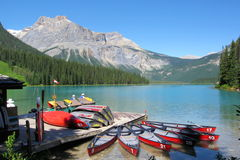 Canoes at Emerald Lake, Yoho National Park, British Columbia Royalty Free Stock Photography