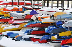 Canoes and Kayaks. Royalty Free Stock Photos