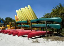 Canoes and kayaks Royalty Free Stock Photos