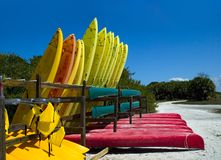 Canoes and kayaks Stock Photography