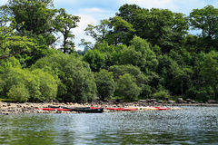 Canoes and kayaks on Derwentwater Stock Images