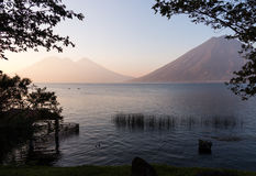 Canoes on Lake Atitlan Guatemala Stock Image