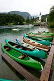 Canoes on the Lake Bohinj Stock Photography
